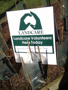 Landcare volunteers sign